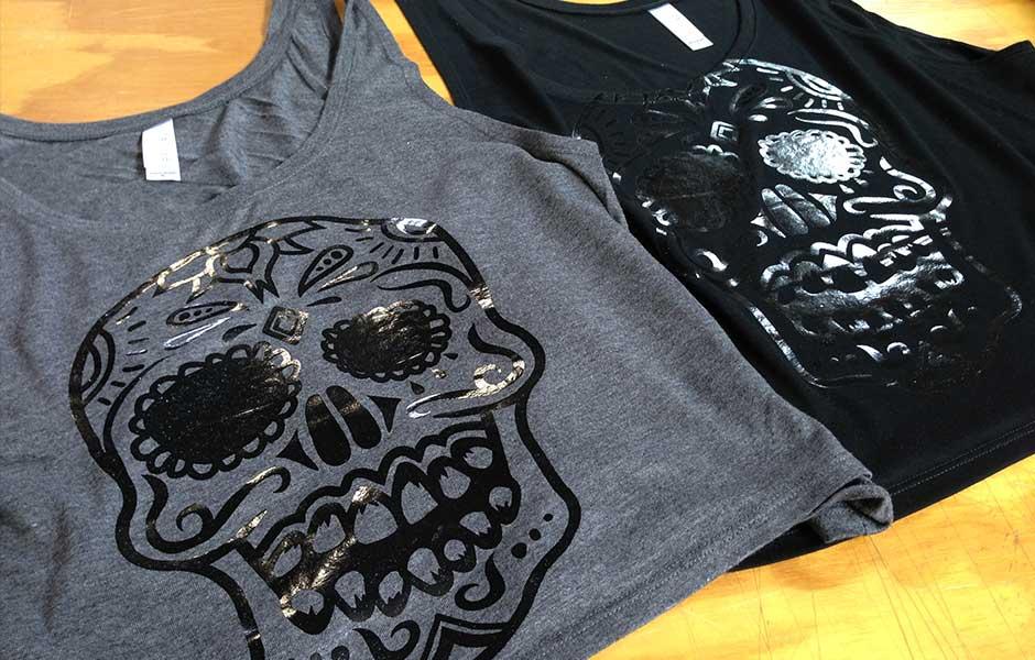 Foil printing on t shirts sweatshirts zome design for Foil print t shirts custom
